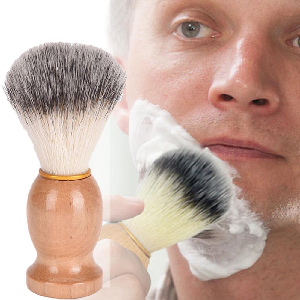 Househome 1 Pc Men Shaving Brush, Wooden Handle Facial Beard Razor Brush Barber Shave Soap Foams Facial Cleaning Shaving Tool