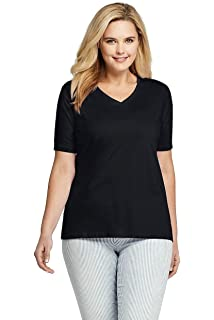bc3ab6fffadd Lands' End Women's Plus Size Supima Cotton Short Sleeve T-Shirt - Relaxed V