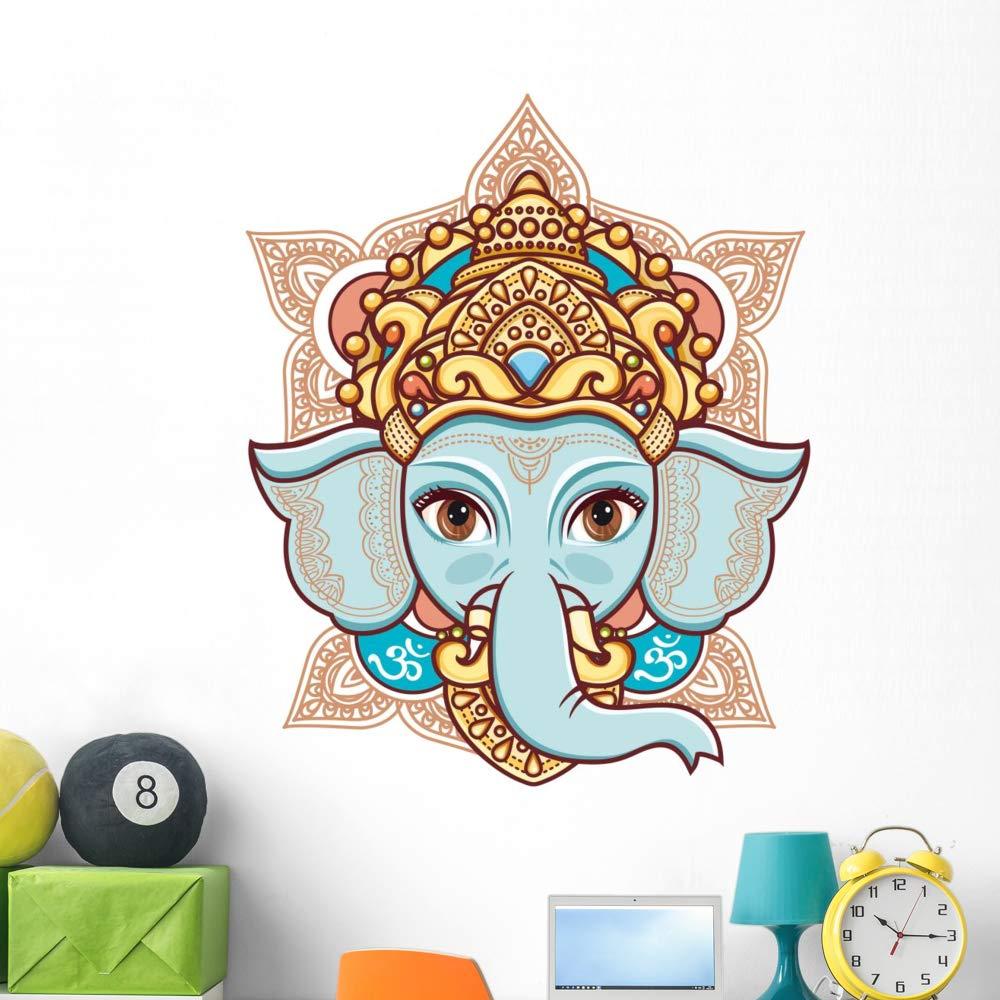 Wallmonkeys Elephant Head Lord Ganesh Wall Decal Peel and Stick Animal Graphics (48 in H x 48 in W) WM503024