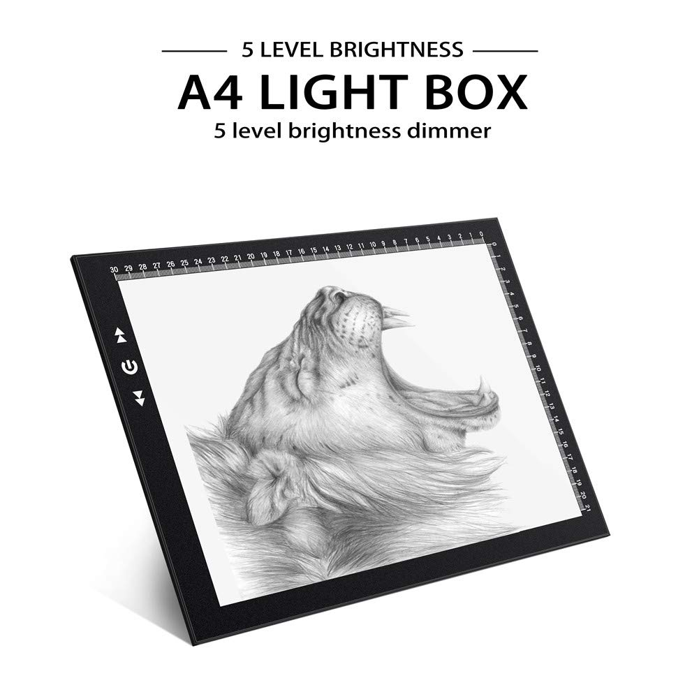 A4 Led Light Box Light Pad New Improved Structure Touch Dimmer 8W Super Bright Max 3800 Lux with Free Carry/Storage Bag 2 Years Warranty (A4 Light Pad) by HSK (Image #2)
