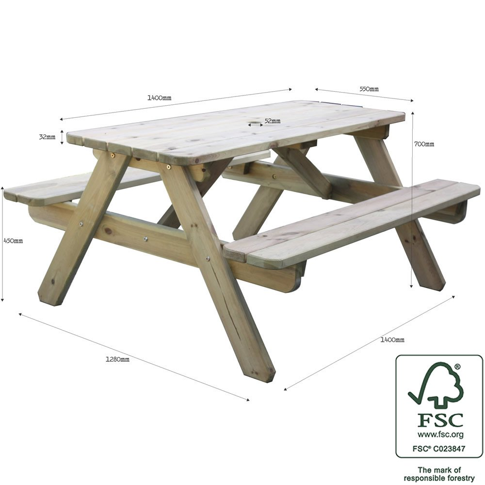 Wooden Amelia 6 Seater Picnic Table Wood Picnic Bench For Gardens Parks Schools And Pubs 14 Meter Length