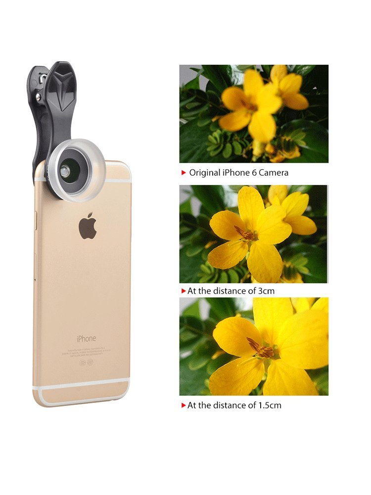 FOTOMIX Mobile Phone Lens 15X Super Macro Camera Lens for iPhone7 7PLUS 6S 6 Plus Xiaomi Red Huawei Samsung Cellphones APL-ML35 by FOTOMIX