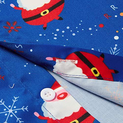 RAISEVERN Männlich Hawaiihemd Phantasie Neuheit Santa Schneemann Muster Langarm Shirts Schneeball Gedruckt Tops Blusen für Brothers Daddy\'s