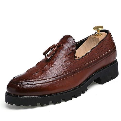 Negocios Zapatos Hombres Plataforma Acogedor Alrededor del pie Aumento Transpirable Antideslizante Borla Mocasines: Amazon.es: Zapatos y complementos