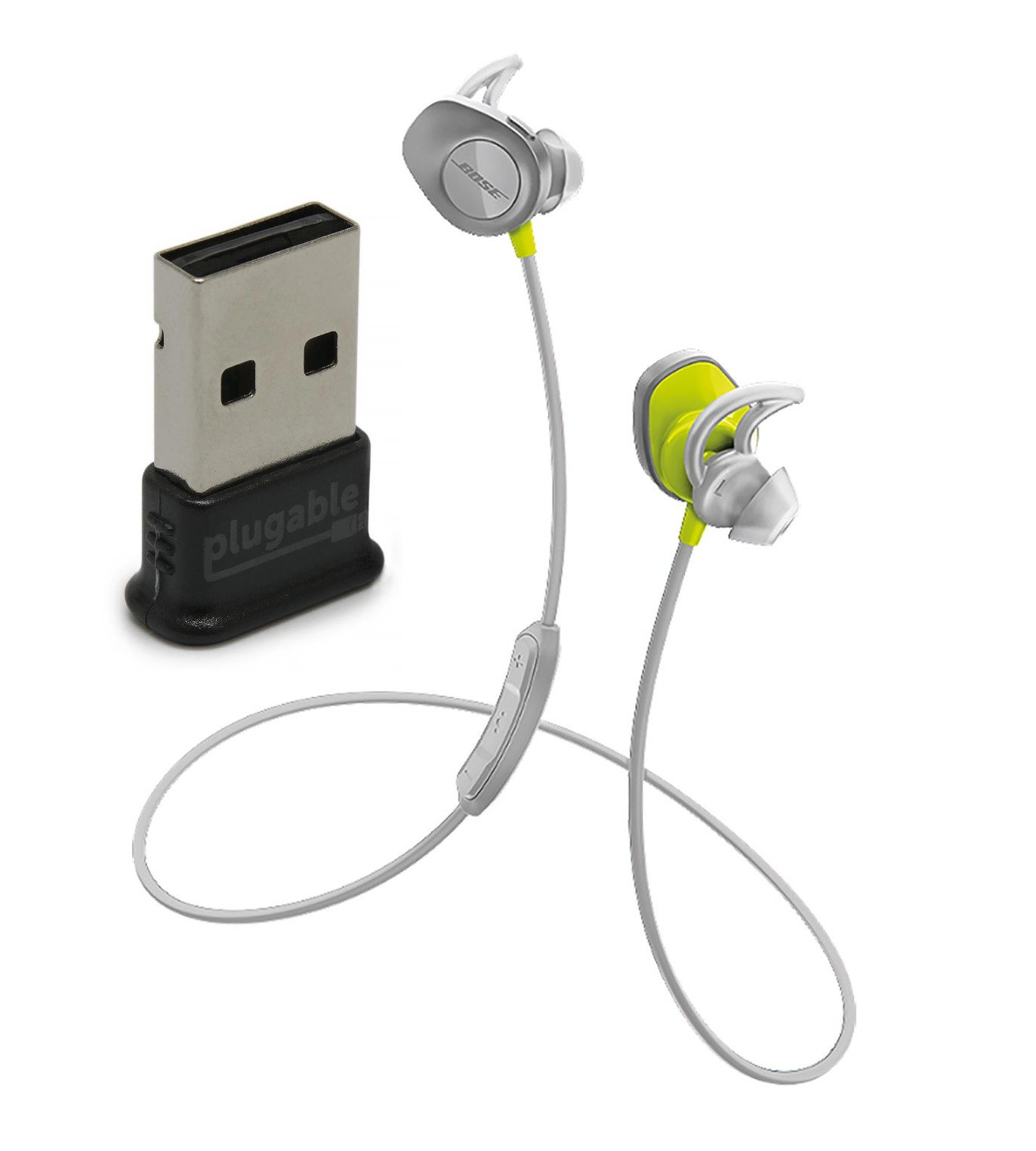 Bose SoundSport Wireless In-Ear Headphones, Citron, with Plugable USB 2.0 Bluetooth Adapter (USB-BT4LE) by Bose