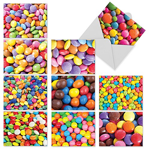 10 'Candy Man' Note Cards (with Envelopes), Sweet Stationery Featuring Photos of Colored Candy, Blank Greeting Cards for Weddings, Birthdays, Baby Showers, Holidays 4 x 5.12 inch M2000 ()