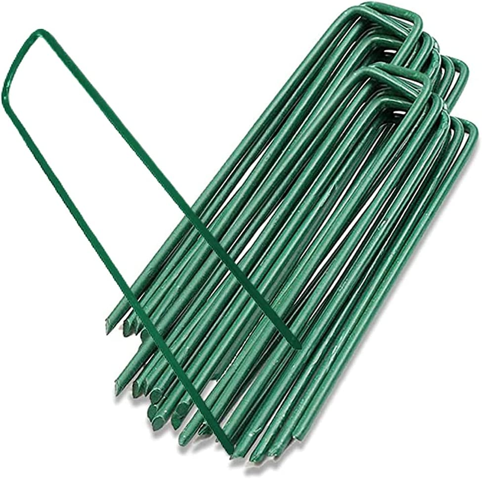 10PCS 6-Inch Galvanized Garden Landscape Staples Stakes, Heavy-Duty Sod Pins Anti-Rust 11 Gauge Garden Stakes, Plant Stakes for Weed Barrier Fabric Ground Cover Tubing Soaker Hose Drippers Irrigation
