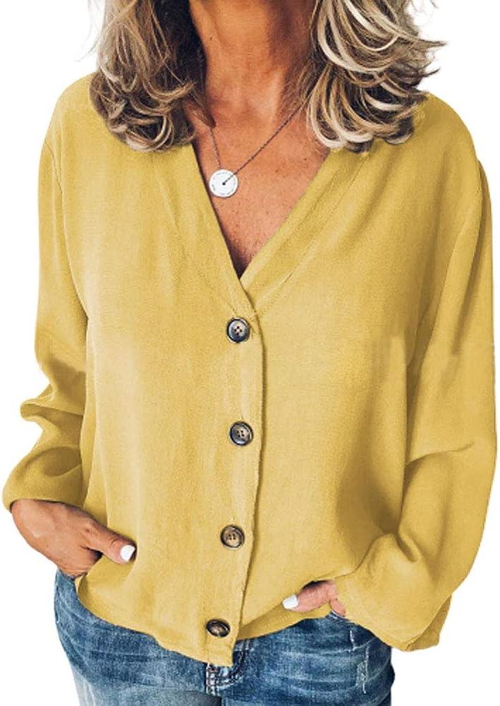 Camisa De Gasa Tops Para Mujer Tops de Regalos Elegante Acogedores vacaciones Fiesta De Moda Joven Color Sólido Cuello En V Blusas De Manga Larga Para Mujer Blusa Básica De Primavera Verano