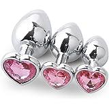 Prise analogique,Sisit 3 Pcs Base en forme de coeur avec bijoux Pierre de naissance Butt-Anal-Play Rose Jewel (Rose)