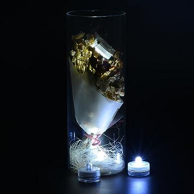 Batería sumergible luces LED impermeable LED té luz velas para boda jarrón, centro de mesa, bajo iluminación, arreglos florales, Navidad, vacaciones, Pecera ...