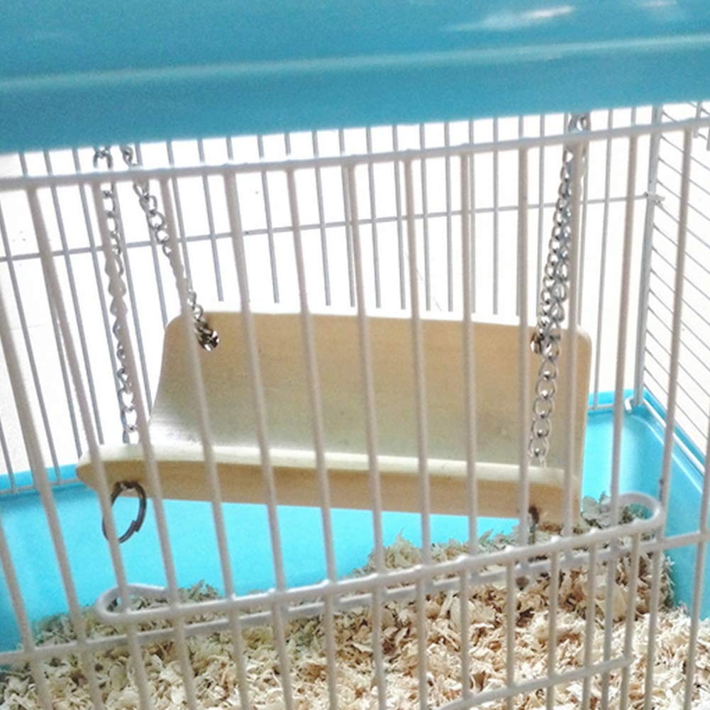 skgardeniamy Pet Bamboo Swing Small Pet Bird Rat Hamster Bamboo Hanging Swing Hammock Cage Nest Playing Toy Wood Color L
