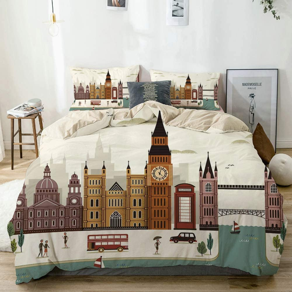 Minalo Duvet Cover Set Beige,Attractive Travel Scenery in Famous City England Big Ben Telephone Booth Westminster Theme,Decorative 3 Piece Bedding Set with 2 Pillow Shams Queen Size