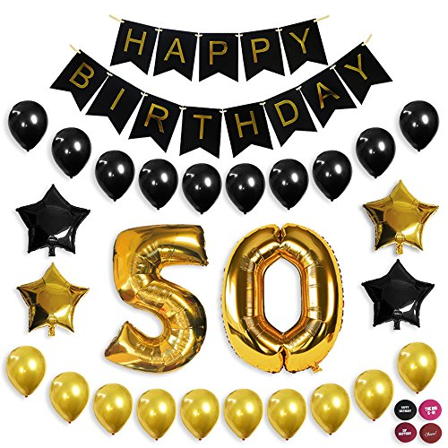 50th Birthday Decorations, Balloon Banner, 50th Party Supplies, Office Party, Black and Gold Birthday Backdrop -