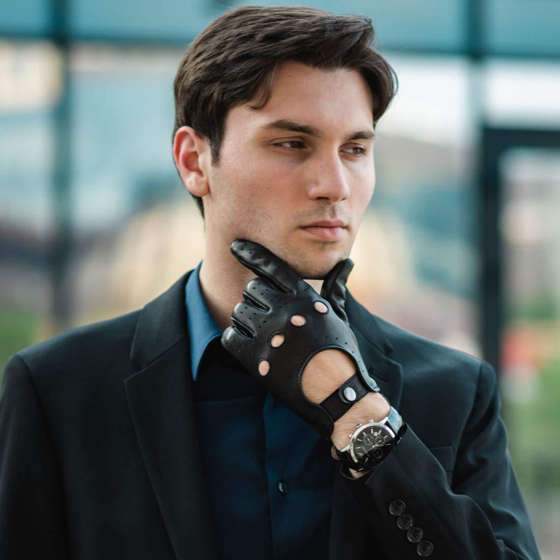 Harssidanzar Mens Deerskin Leather Driving Gloves Unlined