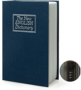 Small Sized Diversion Book Safe Storage Box, Dictionary Secret Safe Can with Security Combination Lock/Key, Diversion Book Hidden Safe (Blue-Combination)