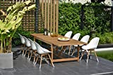 Cheap Brampton 9 Piece Outdoor Eucalyptus Extendable Dining Set | Perfect for Patio | with Teak Finish, White