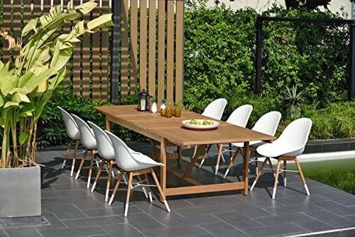 Brampton 9 Piece Outdoor Eucalyptus Extendable Dining Set | Perfect for Patio | with Teak Finish, White