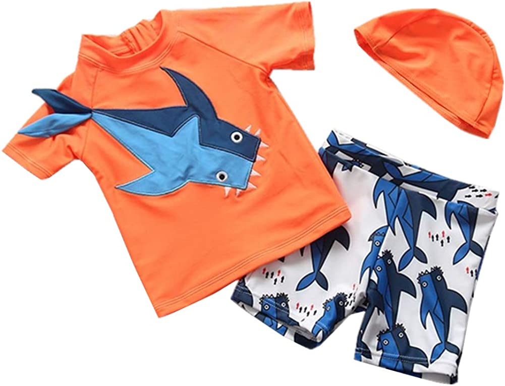 Toddler Baby Boy Swimsuit Kid Two Pieces Rashguard Sun Protective Swimwear Bathing Suit with Hat 1-8t