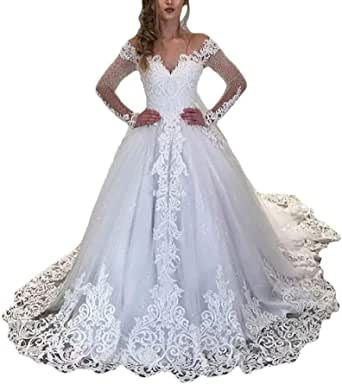 Women's V-Neck Long Sleeve Wedding Dresses for Bride with Train Lace Sequins Bridal Ball Gown Plus Size