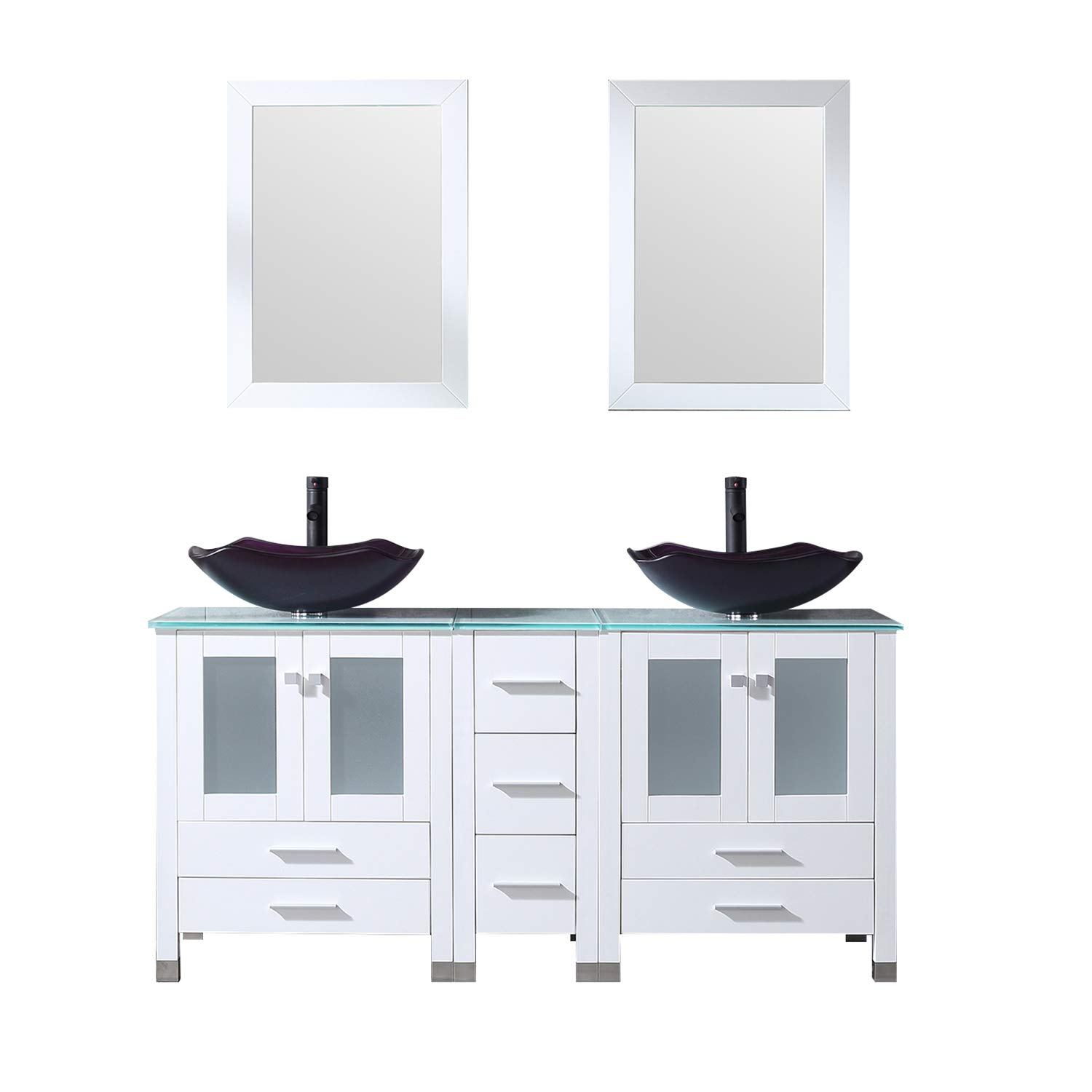 Sliverylake White 60inch Bathroom Vanity Top Double Vessel Sink