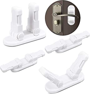 SVsunvo Child Safety Door Lever Locks,4 PCS Childproof Door Handle Locks,Unique Design with Double Lock.Prevent Kids from Opening Door.Easy to Install Without Any Screw Tools. (4 Pcs White)