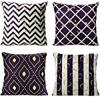 PASHOP Comfy Throw Pillow Covers Geometric Style Square Linen Cushion Covers Sofa Couch Covers Decorative Pillow Case Set of 4 Home Decor, 18 x 18 Inch (Blue and Purple)