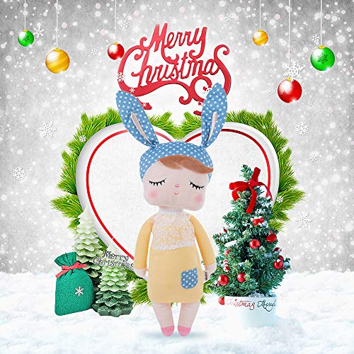 Stuffed Doll Toy Bunny Girls Baby Angela Plush Doll 14 inch Soft Cuddly Kind Rabbit Doll for Baby Kids - Birthday Gifts, Kids Sleeping Partner, MeToo X SKM, Yellow