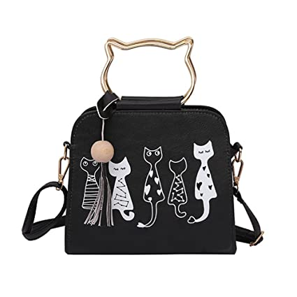 ada2f6f21983 Image Unavailable. Image not available for. Color  Sinzelimin Womens Girls  Cute Cat Ears Cartoon Patterns Small PU Leather Handbag Cross Body Shoulder  Bag