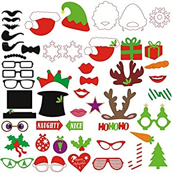 Konsait Navidad Accesorios Photocalls Photo Booth Props 50pcs