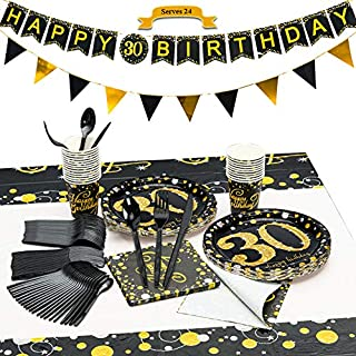 CrzPai 30th Birthday Paper Plates and Napkins Black and Gold Tableware with Banners,Paper Birthday Plates, Napkins, Cups, Tablecover,Forks, Knives and Spoons Party Supplies for 24 Guests