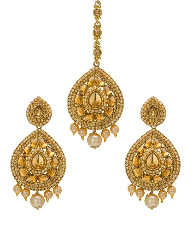 Bindhani Wedding Bridal Indian Pakistani Mang (Maang) Tikka (Tika) With Earrings Set For Women