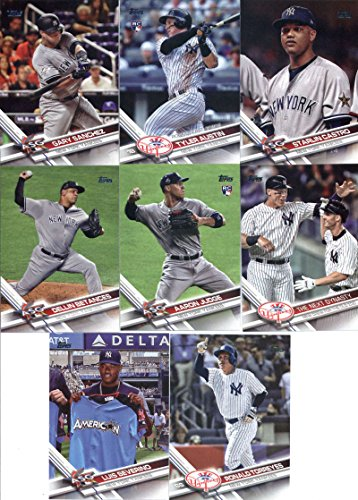 2017 Topps Update Series New York Yankees Team Set of 14 Cards: Aaron Judge(#US1), Domingo German(#US2), Gary Sanchez(#US11), Kyle Higashioka(#US15), Ronald Torreyes(#US54), Luis Severino(#US55), Jordan Montgomery(#US91), Aaron Judge(#US99), THE NEXT DYNASTY(#US148), Aaron Judge(#US166), Dellin Betances(#US197), Starlin Castro(#US236), Tyler Austin(#US259), Gary Sanchez(#US270) (Autographed Set)