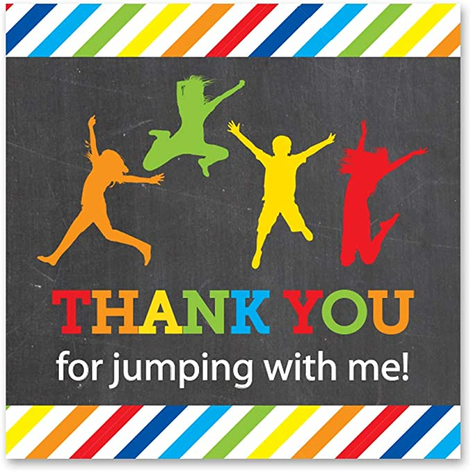 Chalk Pastel Boys Trampoline Party Thank You Cards