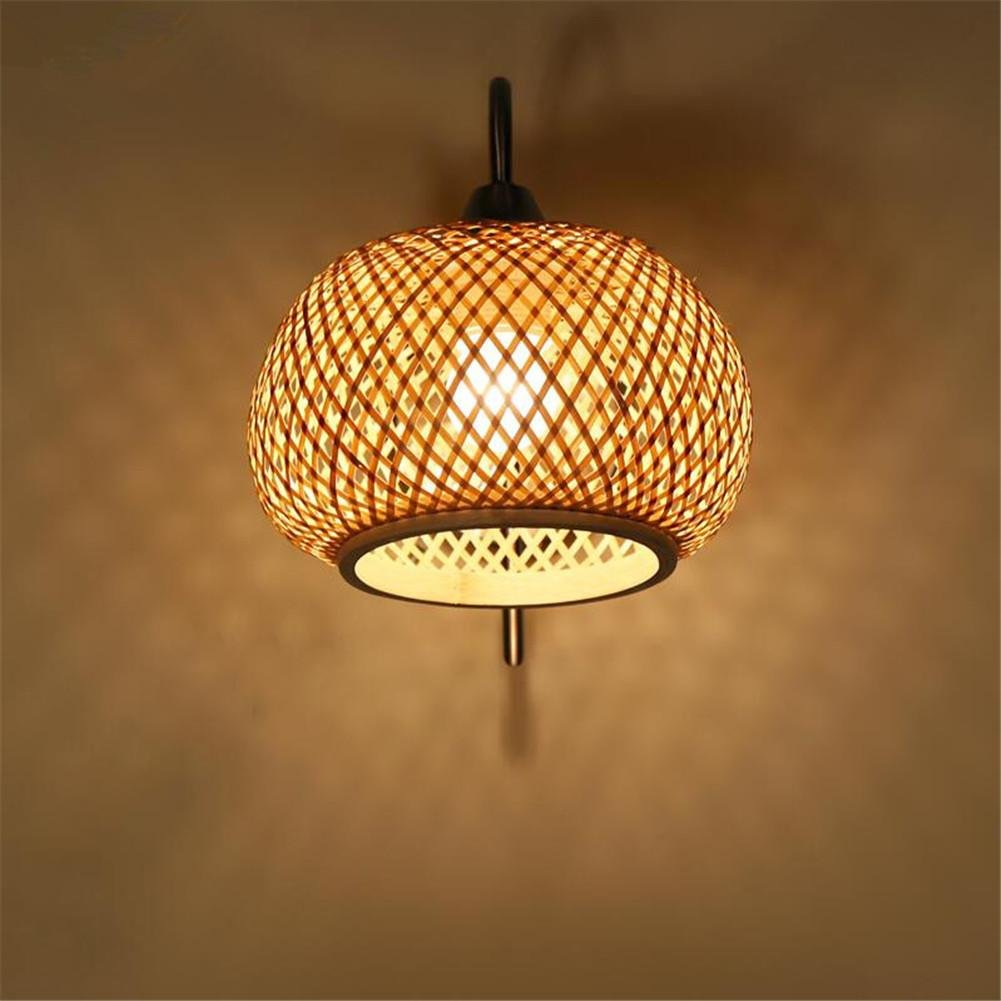 KDLD Wandleuchten ® Einfache geflochtenem Bambus chinesische Mauer Lampe Wohnzimmer Flur Balkon Schlafzimmer LED Wandleuchte