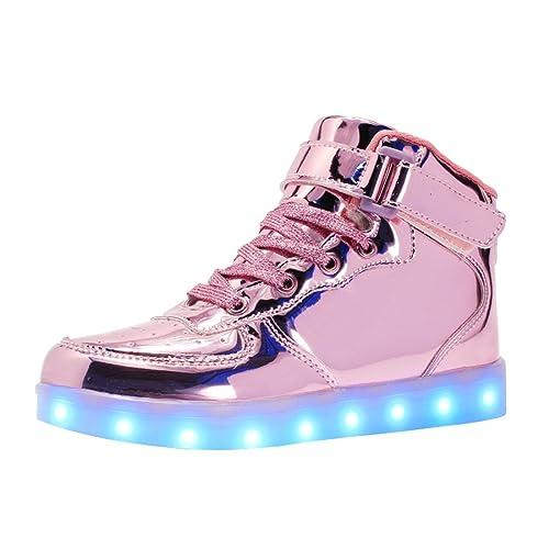 check out 86b2e d21b4 bevoker Leucht Schuhe Kinder High Top LED Turnschuhe Blinkschuhe für  Mädchen Jungen Unisex