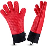 Oven Gloves, Heat Resistant Cooking Gloves Silicone Grilling Gloves Long Waterproof BBQ Kitchen Oven Mitts with Inner Cotton Layer for Barbecue, Cooking, Baking -Red
