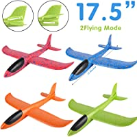 Zwish 4 Pack Airplane Toys, Boy Toys, 2 Flight Mode Foam Glider Plane for Kids, Family Game Flying Toys, Birthday Christmas New Year Gift for 3 4 5 6 7 8 9 10 Year Old Boys Girls Kids Party Favor