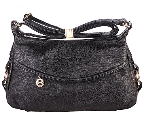 Women's Fashion Genuine Leather Cross Body Shoulder Bag Hobo Style Purse Satchel Handbag for Ladies (Black) by UPinYi