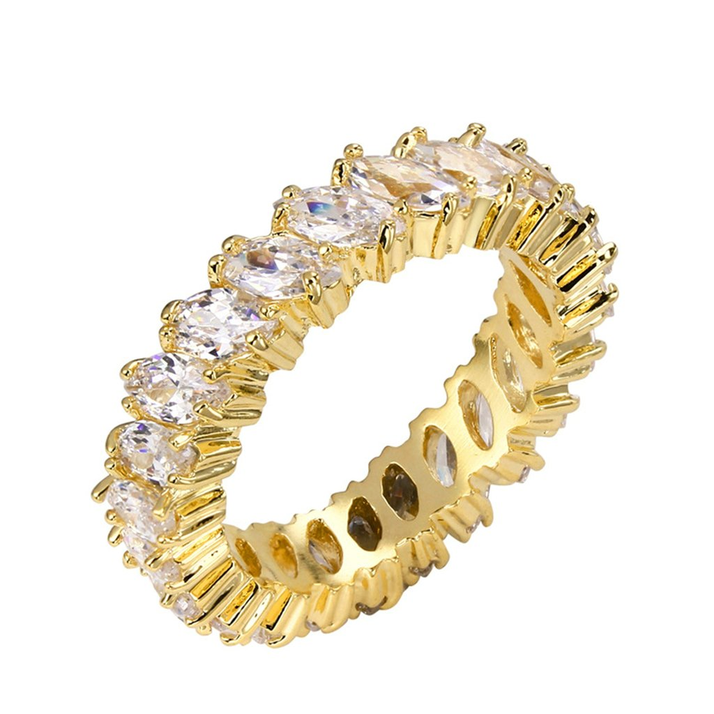 Bishilin 18K Gold Plated Marquise Cut Cubic Zirconia Inlay Eternity Band Wedding Rings For A Woman Size 9