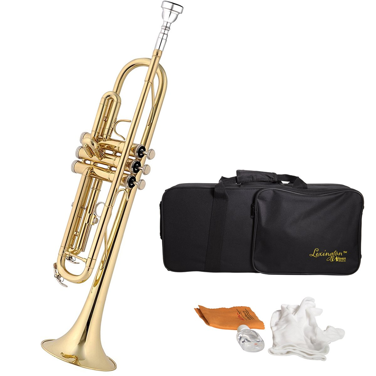 Lexington Brass Lacquered Bb Key Student Intermediate Trumpet with Full Accessories and Kit
