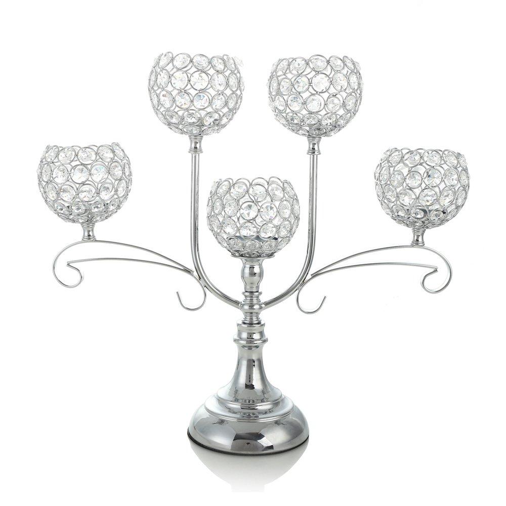 VINCIGANT Silver Crystal Candelabra Wedding Coffee Table Decorative ...