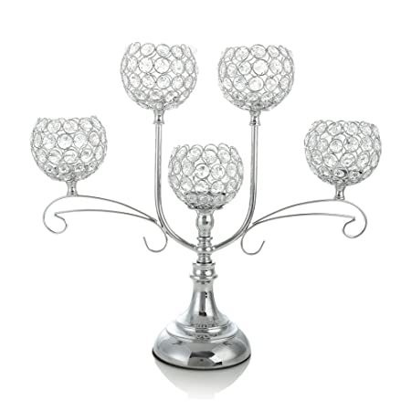 Vincigant silver crystal candelabra for wedding coffee table vincigant silver crystal candelabra for wedding coffee table decorative centerpiecedining room tabletop accessories junglespirit Image collections