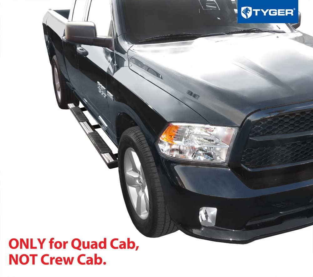 Incl. 19 Classic Tyger Auto Stainless Steel 5 Inch Wheel-to-Wheel TG-RS9D60067 Riser Compatible with 2009-2018 Ram 1500 Quad Cab 6.5 Bed 5inch Wheel W2W Running Boards Side Step Rails Nerf Bars