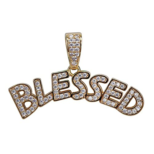 89b79300e HECHUANG Micropave Simulated Diamond Iced Out Custom Bubble Letters Blessed Initial  Pendant with Rope Chain Hip