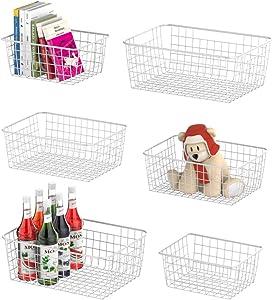 Wire Basket, F-color 6 Pack Multi Size Metal Storage Baskets Organizer Bin for Pantry, Shelf, Freezer, Kitchen, Cabinet, Bathroom, White