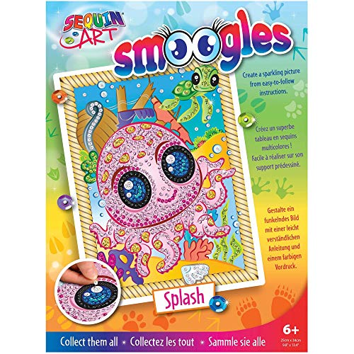 Sequin Art 8321813 Sequin Picture Animals Octopus Picture Complete Set with Styrofoam Frame Picture Template Sequins Pin Pins Instruction Craft Kit for Children Aged 6 Years + Multicoloured