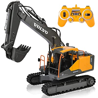 17 Channel Volvo RC Excavator Truck with 1 Rechargeable Batteries Full Functional Remote Control Excavator Construction Tractor: Sports & Outdoors