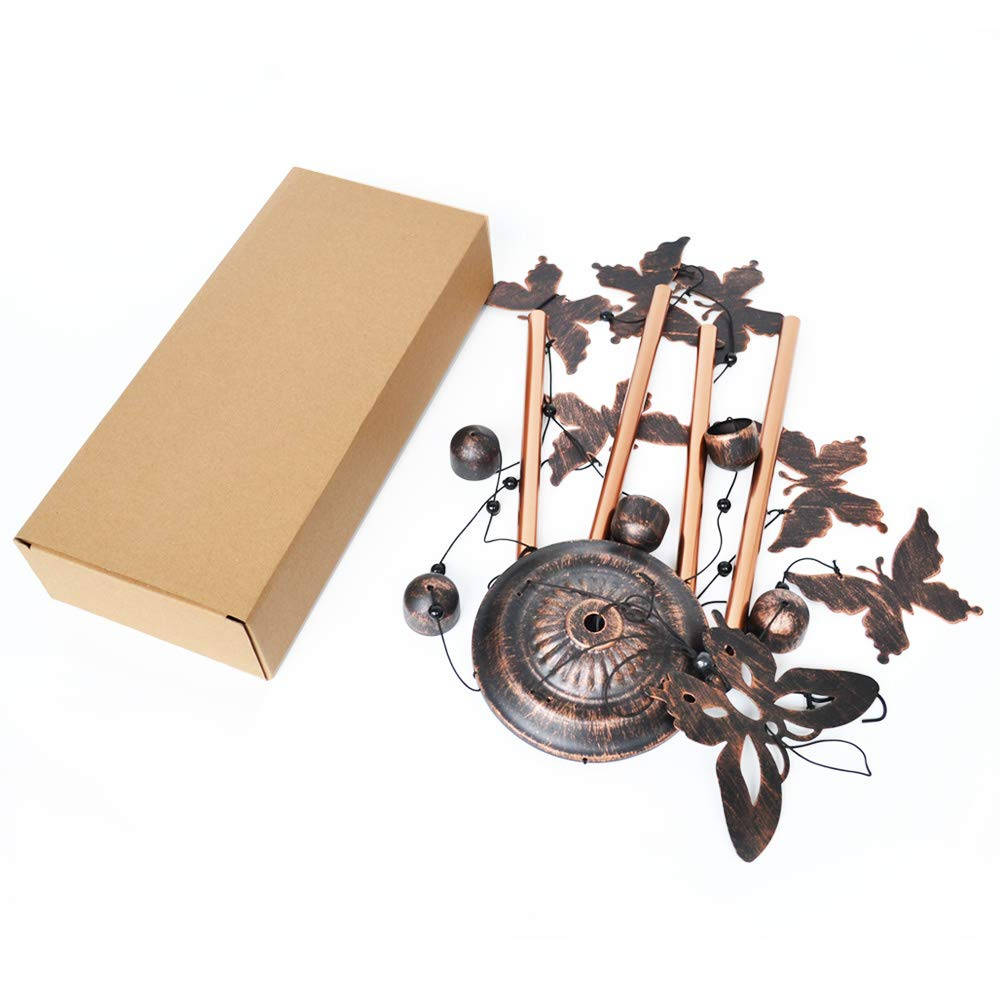 BlessedLand Butterfly Wind Chime-4 Hollow Aluminum Tubes 5 Wind Bells 7 Butterflies-Wind Chime with S Hook for Indoor and Outdoor