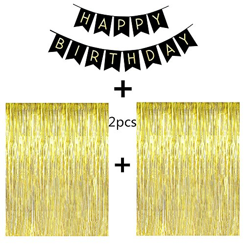 Fecedy® 2pcs 3ft x 8.3ft Gold Metallic Tinsel Foil Fringe Curtains With Black Happy birthday Banner For Party Decor Birthday Decor