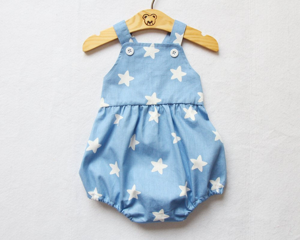 Blue Baby Boy Romper White Star Print Bubble Button Romper